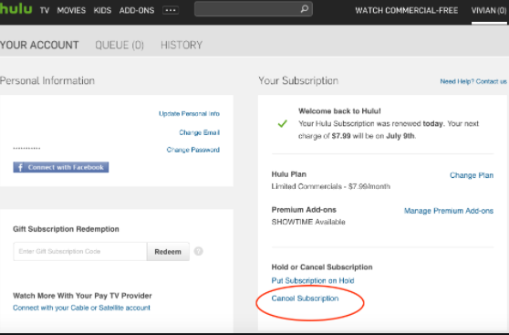How to Cancel Hulu subscription from Account